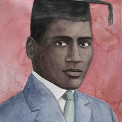 Painting of Paul Robeson wearing graduating cap